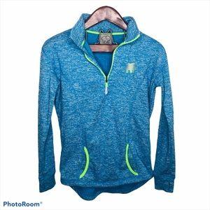 Ivory Ella Fleece 1/2 Zip Marled Blue Sweatshirt M